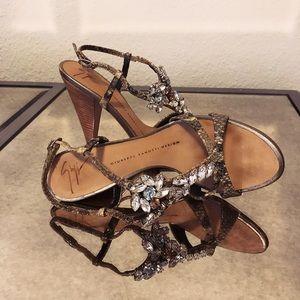 Giuseppe Zanotti Crystal Gold Sandals 35